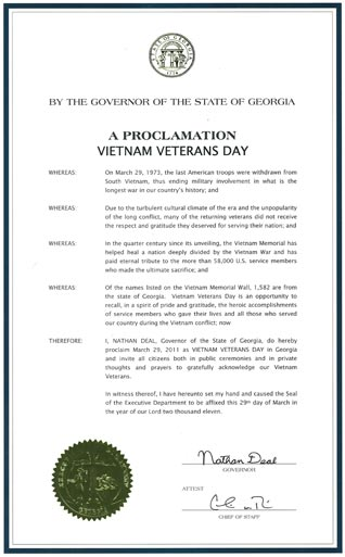 A Proclamation Vietnam Veterans Day by Nathan Deal, Governor of the State of Georgia